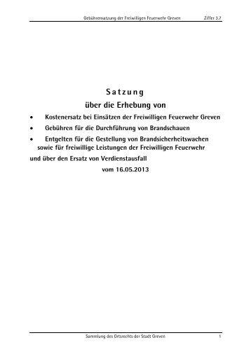 Satzung über die Erhebung von Kostenersatz bei ... - Stadt Greven