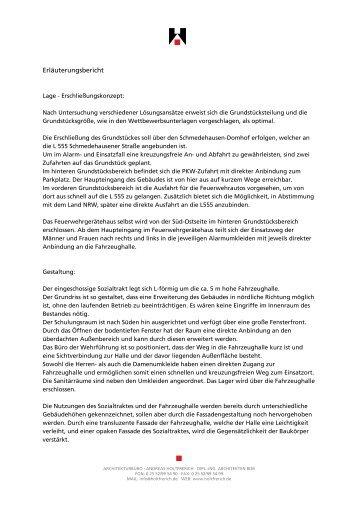 Erläuterungsbericht zum Entwurf Holtfrerich