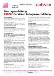 Montageanleitung CarVision Autoglasveredelung - Karl Gröner GmbH