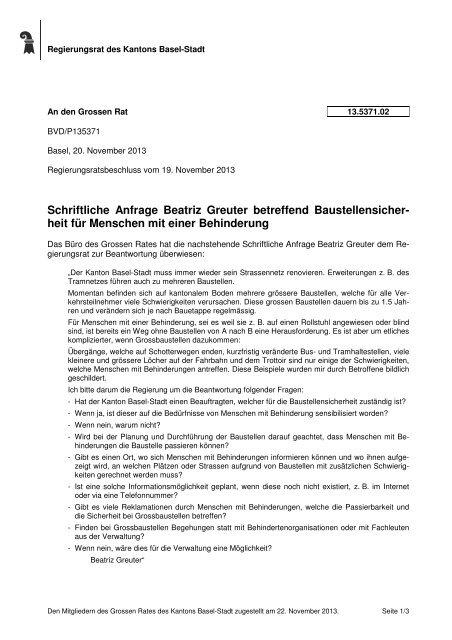 13.5371.02 - Grosser Rat - Kanton Basel-Stadt