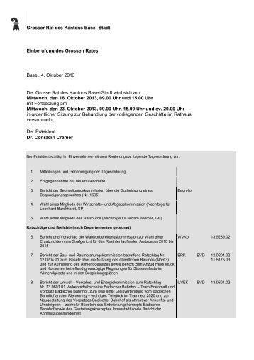 Grosser Rat des Kantons Basel-Stadt Einberufung des Grossen ...