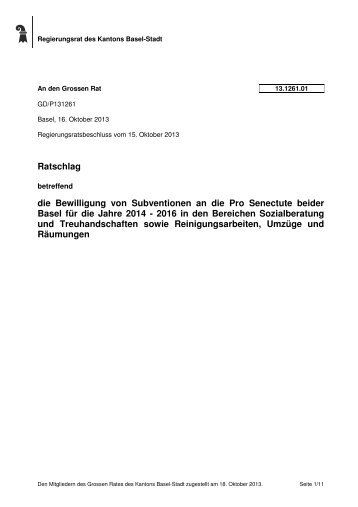 13.1261.01 - Grosser Rat - Kanton Basel-Stadt
