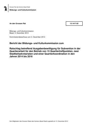 13.1417.02, BKK Quartierarbeit - Grosser Rat