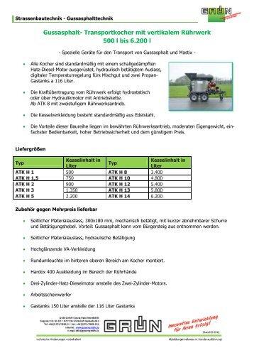 Gussasphalt- Transportkocher mit vertikalem Rührwerk 500 l bis ...