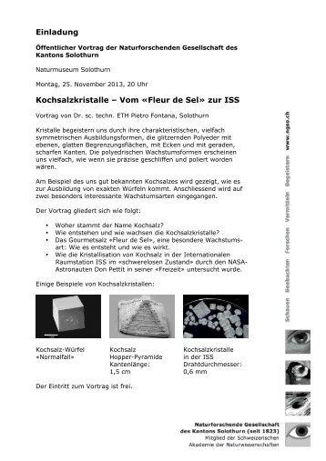 Einladung Kochsalzkristalle – Vom «Fleur de Sel» zur ISS - guidle