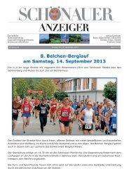 8. Belchen-Berglauf am Samstag, 14. September 2013 - GVV Schönau