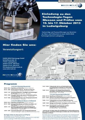Veranstaltungsort: - Hahn +Kolb Werkzeuge GmbH