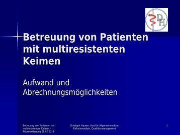 Betreuung von Patienten mit multiresistenten Keimen