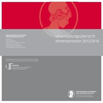Wintersemester 2013/14 - Heidelberger Akademie der Wissenschaften