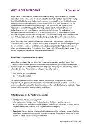 KULTUR DER METROPOLE 5. Semester - HafenCity Universität ...
