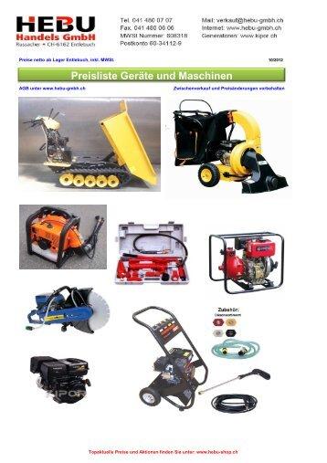 Preisliste gesamt Fahrzeuge Maschinen Lager - HEBU-Gmbh