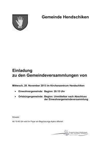 01.11.2013, def., Einladungsbroschüre für GV vom ... - Hendschiken