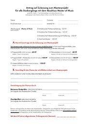 Antrag auf Zulassung zum Masterprojekt - Hochschule für Musik ...