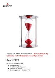 Antrag auf den Abschluss einer D&O Versicherung für ... - Hiscox