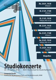 Programm Studiokonzertwoche - HIT-Karlsruhe