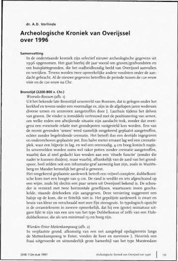 Archeologische Kroniek van Overijssel over 1996 - Historisch ...