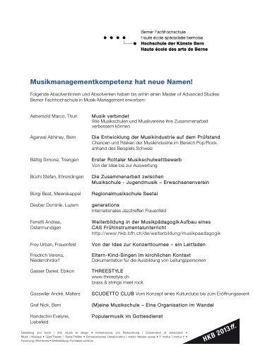 Thesen - Hochschule der Künste Bern - Berner Fachhochschule