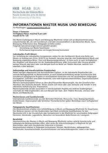 informationen master musik und bewegung - Hochschule der ...