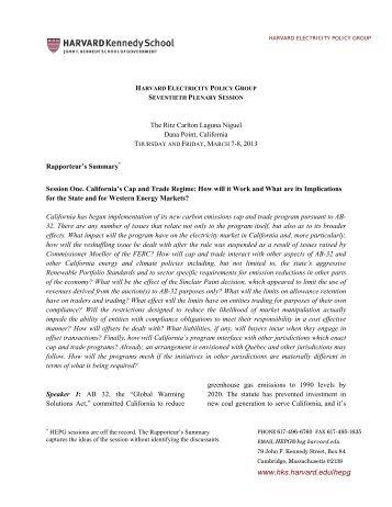 March 7-8, 2013, HEPG Seventieth Plenary Session - Harvard ...