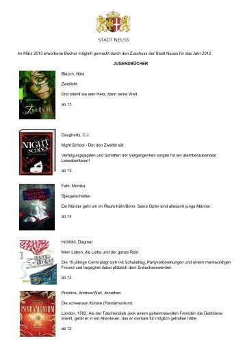 Im März 2013 erworbene Bücher möglich gemacht durch den ...
