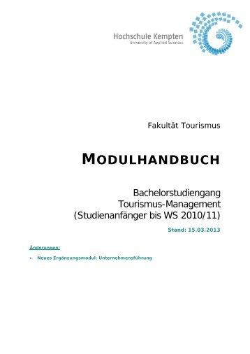 Modulhandbuch BA TO ALT Studinanfänger bis WS 2010/2011