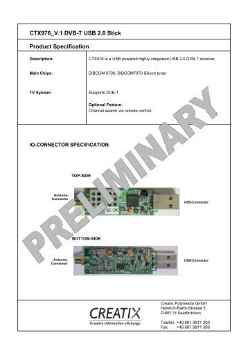 CTX976 V.1 DVB-T USB 2.0 Stick Product Specification - CREATIX