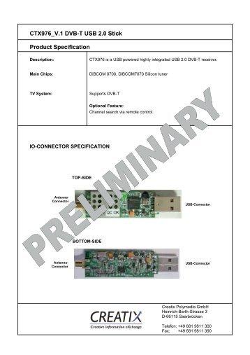 CTX976 V.1 DVB-T USB 2.0 Stick Product Specification - CREATIX
