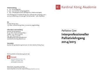 Palliative Care Interprofessioneller Palliativlehrgang 2014/2015