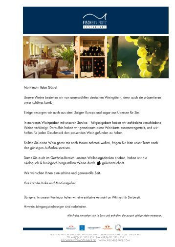 Weinkarte 2013 - Hotel Birke Kiel
