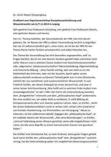 Dr. Ulrich Meyer-Doerpinghaus Grußwort zum ... - HRK Nexus