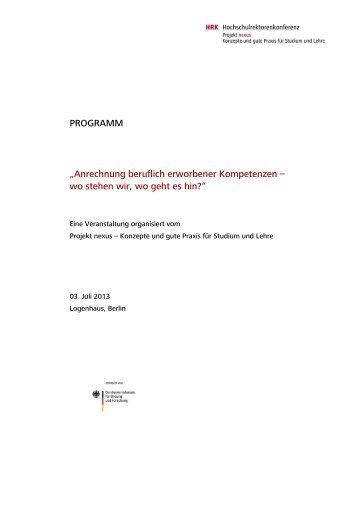 """PROGRAMM """"Anrechnung beruflich erworbener ... - HRK Nexus"""