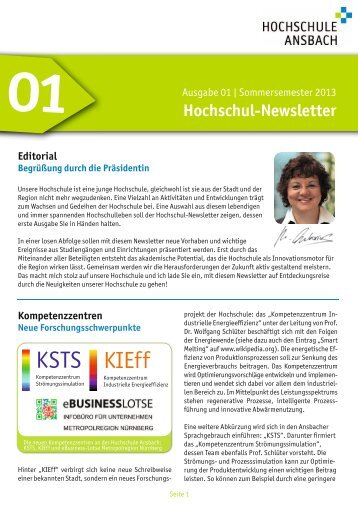 Newsletter 01 - Sommersemester 2013 - Hochschule Ansbach