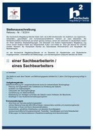 Sachbearbeiter/in im Dezernat für Akademische und Studentische ...