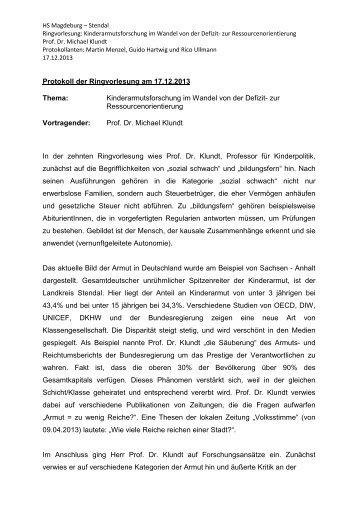 Protokoll der Ringvorlesung am 17 - Hochschule Magdeburg-Stendal