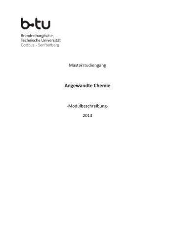 Modulbeschreibung Master Angewandte Chemie