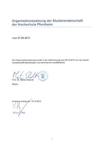 Organisationssatzung - Hochschule Pforzheim