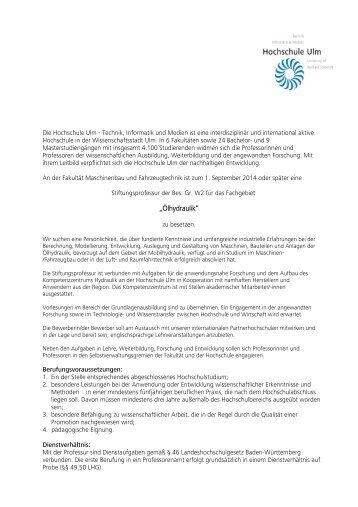 """""""Ölhydraulik"""" - Hochschule Ulm"""