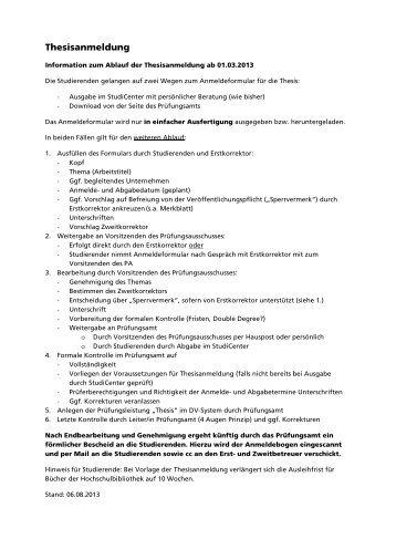 Info zum geänderten Ablauf der Thesisanmeldung - Hochschule ...