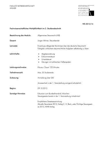 WS 2013/14 Fachwissenschaftliches Wahlpflichtfach im 2 ...
