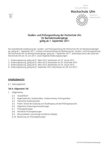 Studien- und Prüfungsordnung der Fachhochschule - Hochschule Ulm