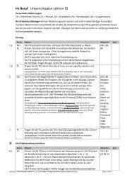 Im Beruf Unterrichtsplan Lektion 15 - Hueber