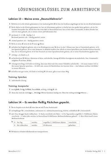 Lösungsschlüssel zum Arbeitsbuch - Hueber