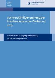 Sachverständigenordnung der Handwerkskammer Dortmund 2013