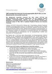 Download der Presseaussendung als PDF - Medizinische ...