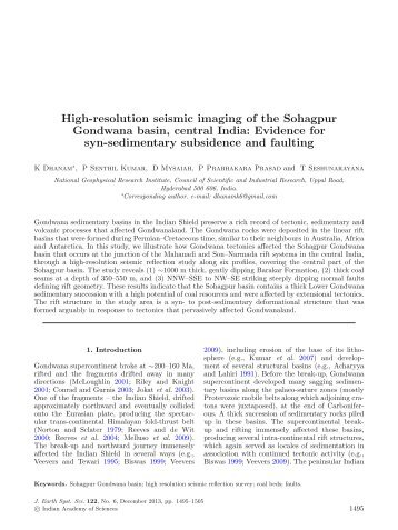 High-resolution seismic imaging of the Sohagpur Gondwana basin ...