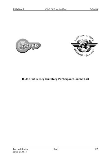 PKD Participant Contact List - ICAO
