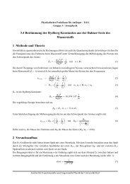 3.4 Bestimmung der Rydberg-Konstanten aus der Balmer-Serie des ...