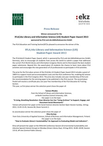 Student Paper Award 2013 IFLA/ekz Library and Information Science