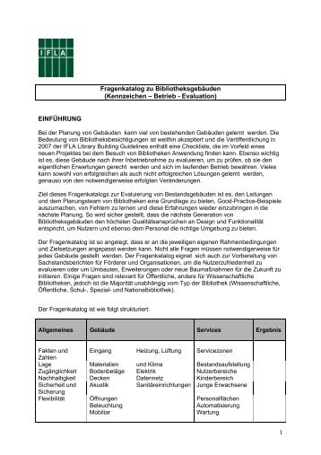 Kennzeichen – Betrieb - Evaluation - IFLA