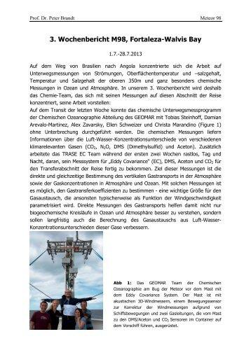 3. Wochenbericht M98, Fortaleza-Walvis Bay